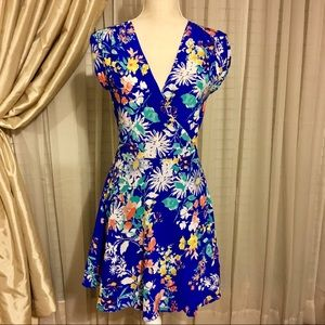 Yumi Kim Blue Silk Floral Wrap Dress